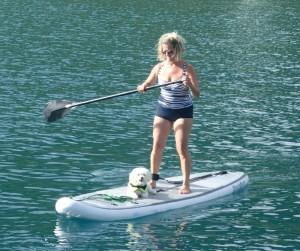 Gwyn & Charlie paddleboarding
