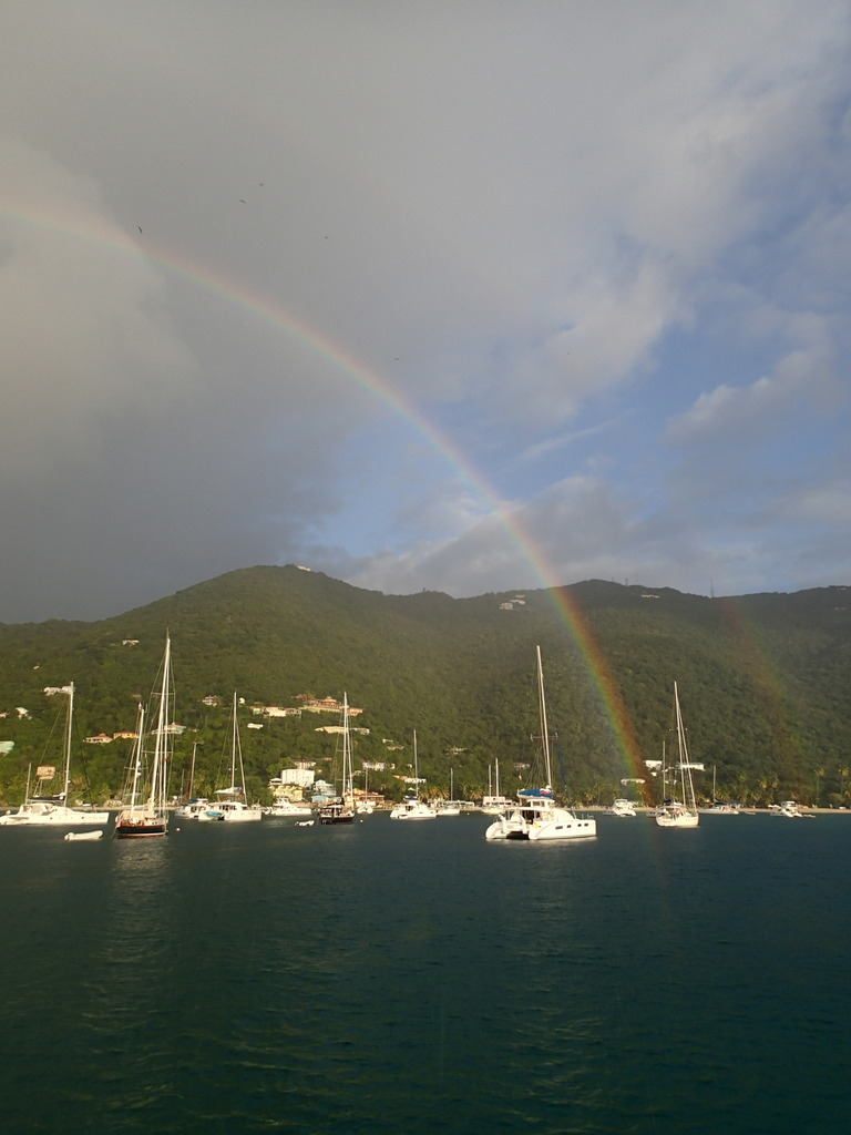 Cane Garden Bay had many light showers with resulting rainbows