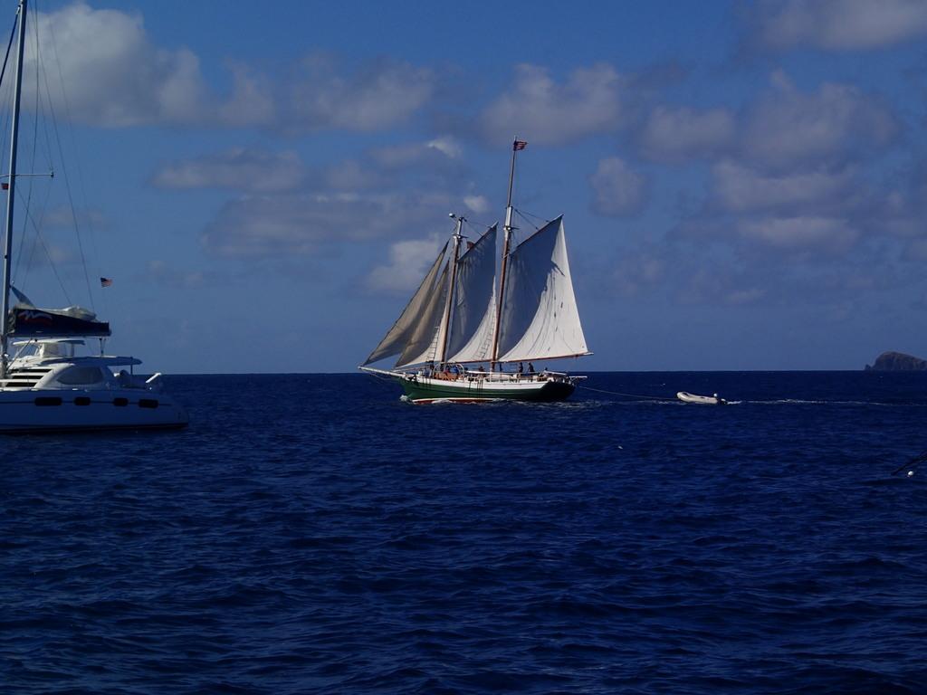 Classic sailboat enjoying the breeze