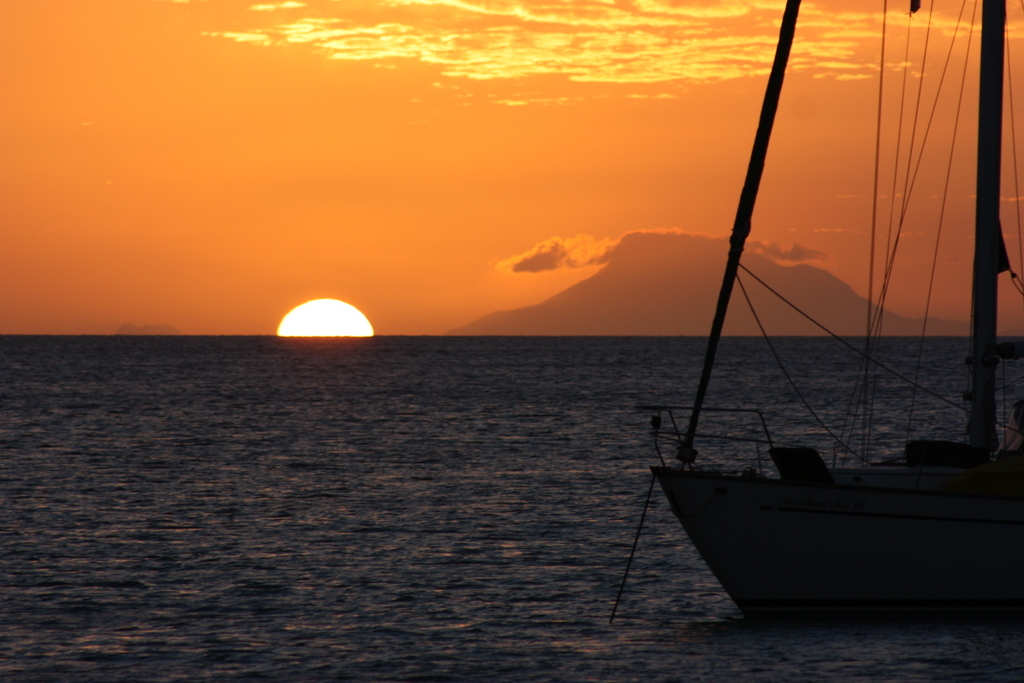 Great sunset view of Nevis
