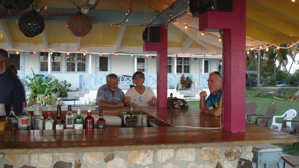 After a long day exploring Anegada, eagerly anticipating the jungle juice at Neptune's Treasure before having lobster and sword fish for dinner.