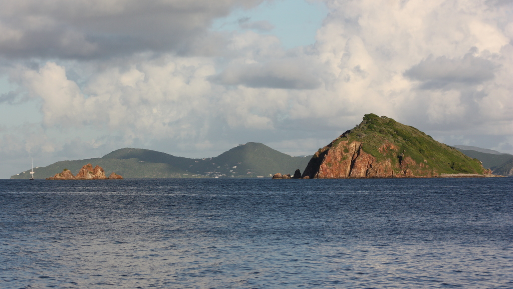 Sunrise view of Pelican Island and the Indians with St. John in the background