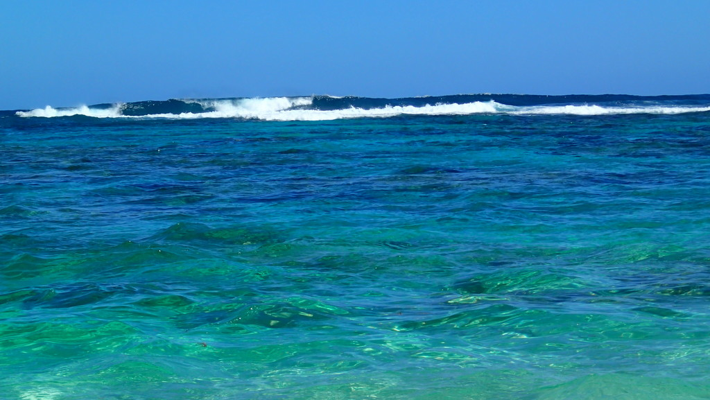 Loblolly Bay, Anegada with a bit of surf making for some challenging snorkeling on the reef