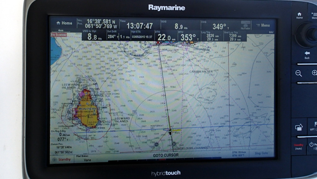 Montserrat to port on way to Antigua in a 32g40 breeze but loving the boat speed